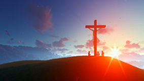 Jesus on cross against morning sunrise, believers praying stock video footage