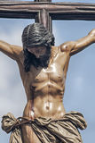 Jesus on the cross, brotherhood of the students, Holy Week in Seville. Image of Jesus on the cross in the Holy Week in Seville stock photos