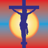 Jesus on a cross. Jesus Christ Crucifiction Silhouette. Vector illustration Royalty Free Stock Images