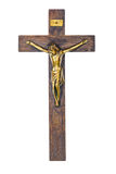 Jesus on cross. Jesus christ on a wooden cross isolated on white background Stock Photo