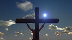 Jesus on Cross, close up, timelapse sunset, day to night, stock footage Royalty Free Stock Image