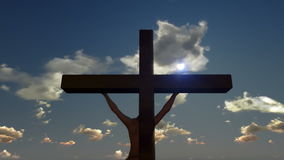 Jesus on Cross, close up, timelapse sunset, godrays, stock footage stock video