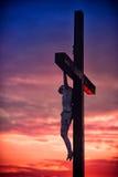 Jesus on the cross. Jesus cross cloud sanset sanrise Stock Image