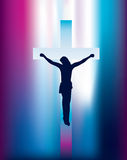 Jesus cross on crucifix with abstract beam of ligh Stock Photography