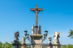 Jesus cross at front of Avignon Cathedral, France royalty free stock images