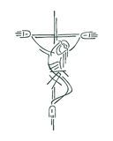 Jesus at the Cross. Hand drawn vectors illustration or drawing of Jesus at the Cross Stock Photos