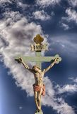 Jesus on the cross. With sign INRI above his head Royalty Free Stock Photo