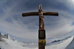 Jesus on Cross on Jungfrau Stock Photo