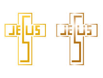 Jesus cross lettering. Jesus lettering in cross hand drawn Royalty Free Stock Photography
