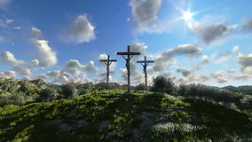 Jesus on Cross, meadow with olives and time lapse clouds, stock footage. Video stock illustration