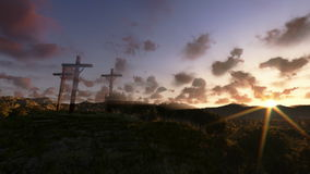 Jesus on Cross, meadow with olives, time lapse sunrise, panning, stock footage stock video