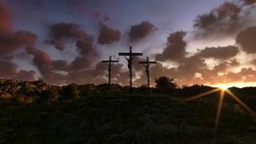 Jesus on Cross, meadow with olives, time lapse sunrise, stock footage Royalty Free Stock Images