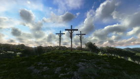 Jesus on Cross, meadow with olives, time lapse sunset, stock footage Stock Photo