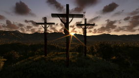 Jesus on Cross, meadow with olives, timelapse night to day zoom out, stock footage Royalty Free Stock Images