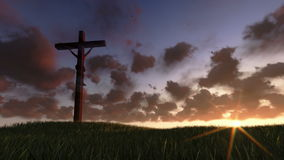 Jesus on Cross, meadow and timelapse sunrise, stock footage Royalty Free Stock Photos