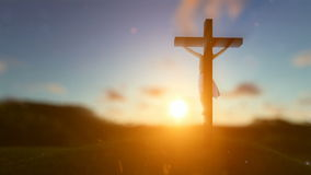 Jesus on cross over blurry sunset, concept for religion. Hd video stock video