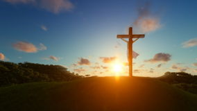 Jesus on cross over sunset, concept for religion. Hd video stock video