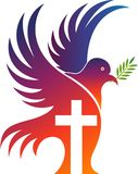 Jesus cross pigeon logo. Illustration drawing art a Jesus cross pigeon logo with white background Royalty Free Stock Photo