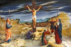 Jesus At The Cross. Real Life Size Jesus at the cross on Golgotha royalty free stock photo