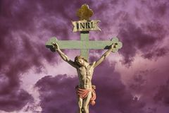 Jesus on the cross -  salvation. Jesus on the cross with sign INRI above his head Royalty Free Stock Photo