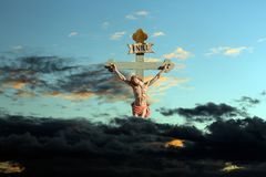 Jesus Christ son of God. Jesus on the cross with sign INRI above his head Royalty Free Stock Images