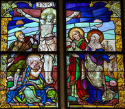 Jesus on the Cross - Stained Glass - Good Friday Royalty Free Stock Photo