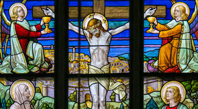 Jesus on the Cross - Stained Glass Stock Images