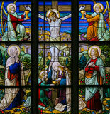 Jesus on the Cross - Stained Glass Stock Photography