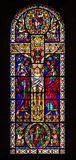 Jesus on the Cross Stained Glass Window Stock Images