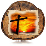 Jesus Cross at Sunset on Tree Trunk Stock Photos