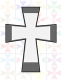 Jesus Cross in Two Tone Color on The Transparency Cristal Wall. Background & Wallpaper Stock Images