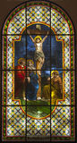 Jesus on the cross - windowpane Royalty Free Stock Images