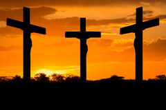 Jesus and crosses Royalty Free Stock Photography