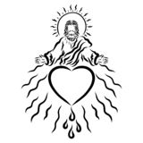 Jesus with a crown of thorns on his head lovingly blesses people.  royalty free illustration