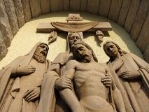 Jesus crucification. Sculpture of Jesus after crucification. religious theme royalty free stock photos