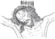 Jesus crucified. Illustration of the face of Jesus crucified Royalty Free Stock Photography