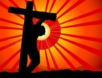Jesus Crucified. A modern starburst highlights this calvary image Royalty Free Stock Image