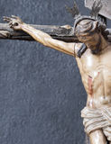 Crucifixión. Jesus crucified on the cross arborea blue background Royalty Free Stock Image
