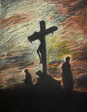 Jesus crucified on Golgotha, pastel technique Stock Photos