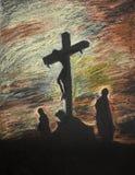 Jesus crucified on Golgotha, pastel technique Stock Photos