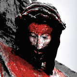 Jesus crucified. Illustration of the face of Jesus crucified Stock Photos