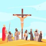 Jesus Crucifix Narrative Composition stock de ilustración
