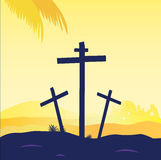 Jesus crucifixion - calvary scene with three cross Royalty Free Stock Images