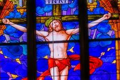 Jesus Crucifixion Stained Glass All-Heilig-Schloss-Kirche Schloss lizenzfreies stockbild