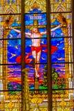 Jesus Crucifixion Stained Glass All-Heilig-Schloss-Kirche Schloss lizenzfreies stockfoto