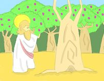 Jesus Curse Barren Fig Tree Illustration. Jesus cursing a fruitless fig tree Royalty Free Stock Photography