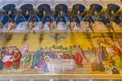 Jesus död mosaik i kyrkan av den heliga griften, Jerusalem Christian Quarter, Palestina royaltyfria bilder