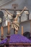 Jesus `-död på korset, helig vecka i Seville, brödraskap av studenter Royaltyfri Fotografi