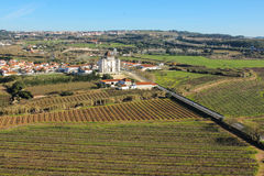 Jesus da Pedra Church. Obidos. Portugal. Panoramic. Senhor Jesus da Pedra Sanctuary Church and crop fields. Obidos. Portugal Royalty Free Stock Photos