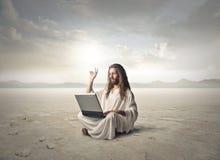 Jesus in de woestijn royalty-vrije stock foto's